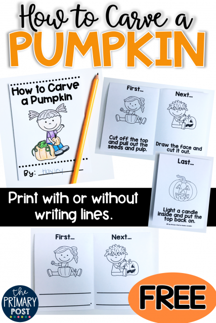 How to Carve a Pumpkin Mini Book FREEBIE