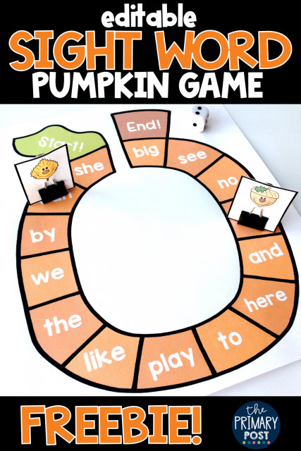 Pumpkin Sight Word Game FREEBIE