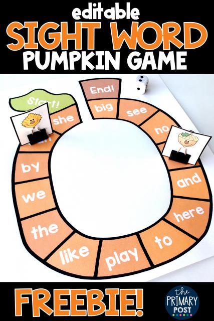 Pumpkin Sight Word Game FREEBIE